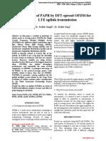 Minimization of PAPR by DFT-spread OFDM for LTE uplink transmission