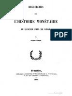 Recherches sur l'histoire monétaire de l'ancien pays de Liège / par Jules Petit