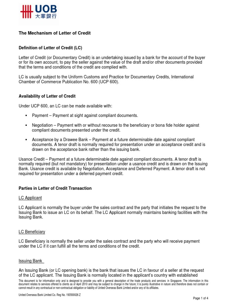 lc mechanism letter of credit business law