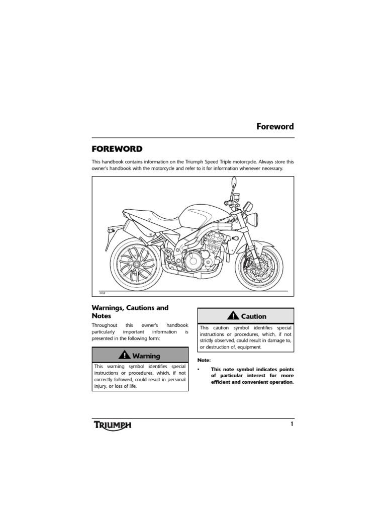 Triumph Speed Triple 1050 Owners Manual T595nj 2 Ohbuk