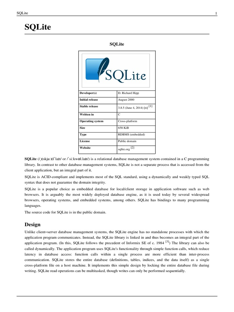 Sqlite Chris Newman Block Diagram Canonir5000 Precompiled Tcl Array Embedded Database Data Management Software Rh Scribd