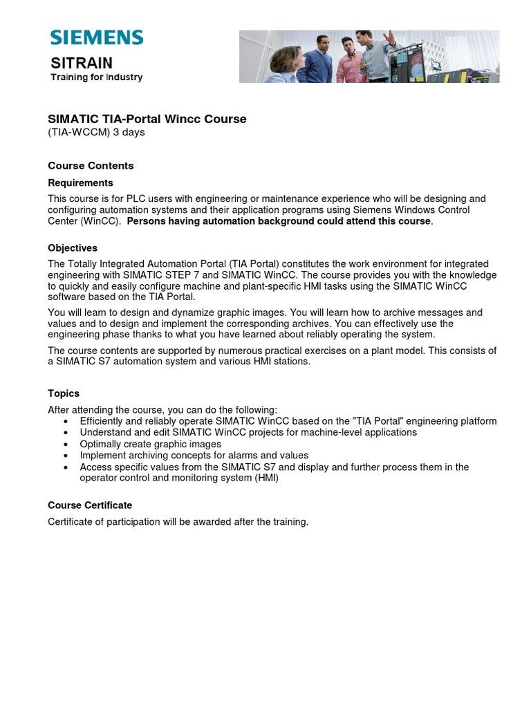 10  Brochure Course TIA Portal Wincc (TIA-WCCM) | Automation