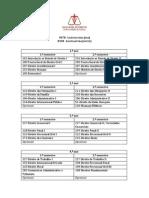 Lista de Códigos de Disciplinas