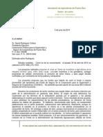 Carta  de la Asociación de Agrigultores, Sector de Leche al sr. Daniel Rodriguez, Presidente ejecutivo de COSSEC.