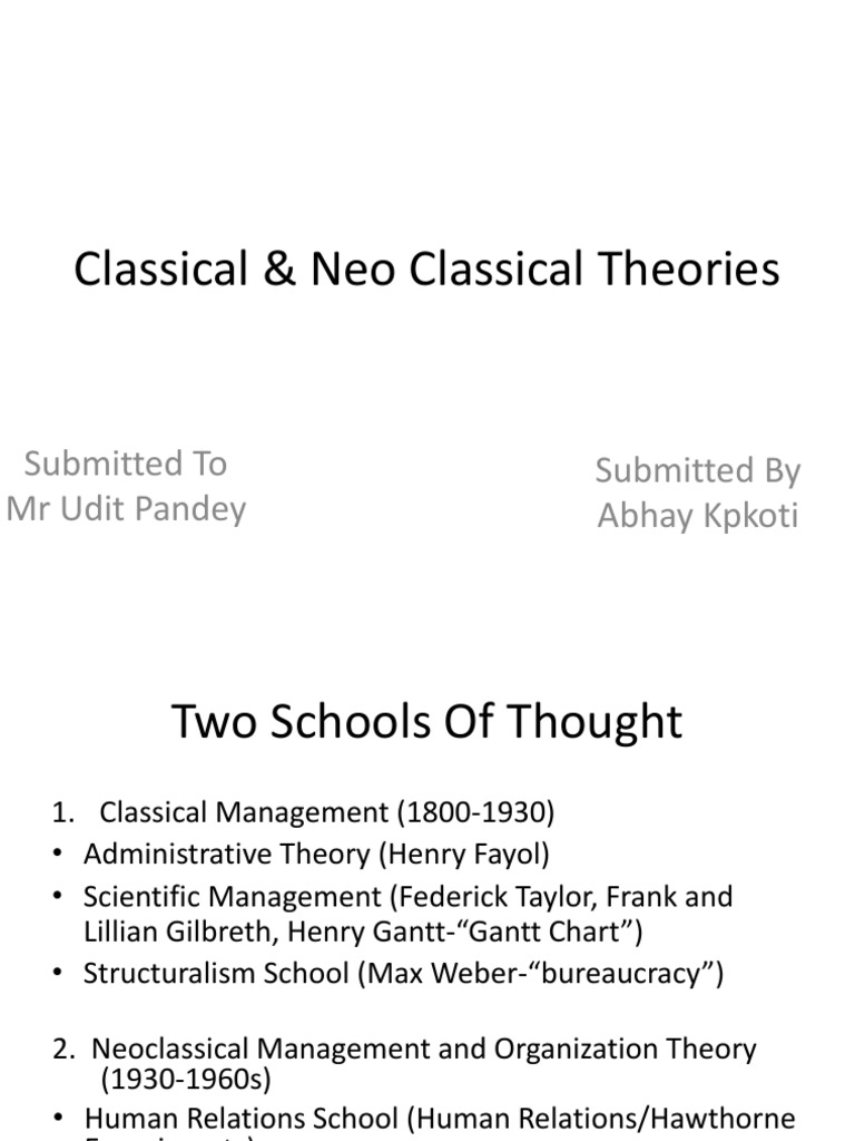neoclassical school of thought