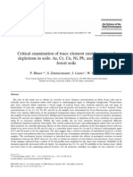 Depletions in Soils as, Cr, Cu, Ni, Pb, And Zn in Swiss