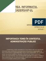 Puterea, Informaţia, Leadership-ul