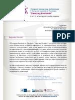 Borrador 2da Circular Congreso Ciencia y Profesion 2014 Psyche