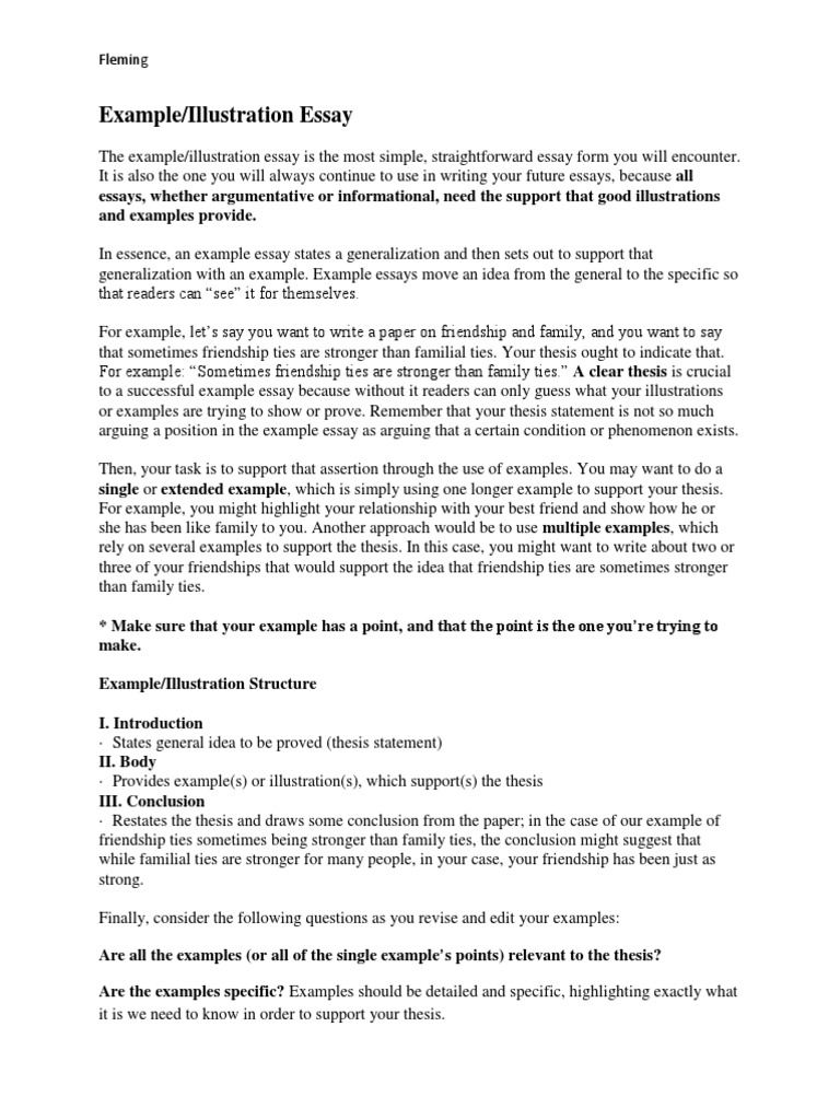 Example Handout  Essays  Thesis