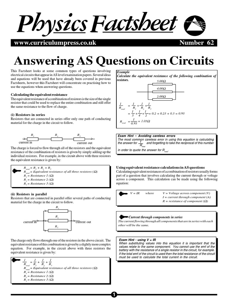Answering As Questions On Circuits Series And Parallel Resistors What Is The Equivalent Resistance Of Circuit Below Electrical Conductance