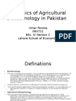 Dynamics of Agricultural Biotechnology in Pakistan