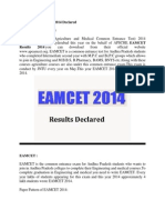 AP EAMCET Results 2014 Declared
