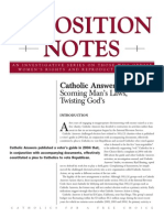Catholic Answers Opposition Notes