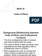Week-10 Codes of Ethics