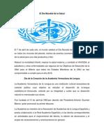 El Día Mundial de La Salud