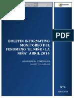 Boletin Informativo Monitoreo Del Fenomeno El Niño La Niña (Abril 2014)