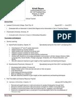 resume for elementary teacher - april 2014