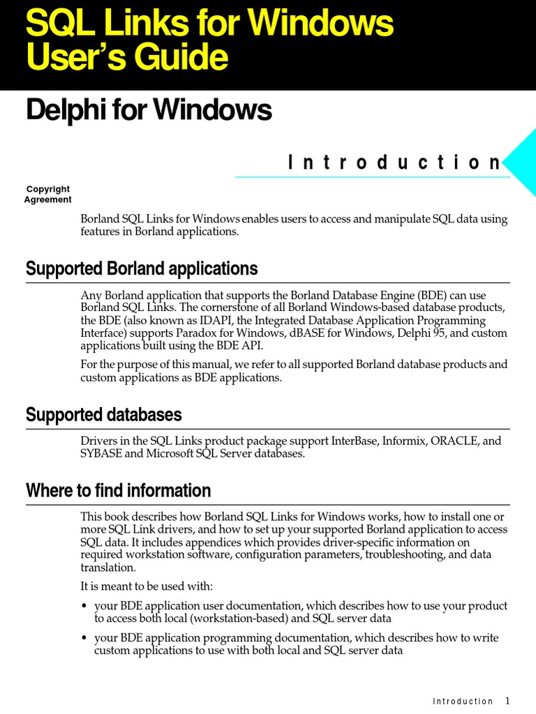 Borland Delphi SQL User Guide | Microsoft Sql Server | Databases
