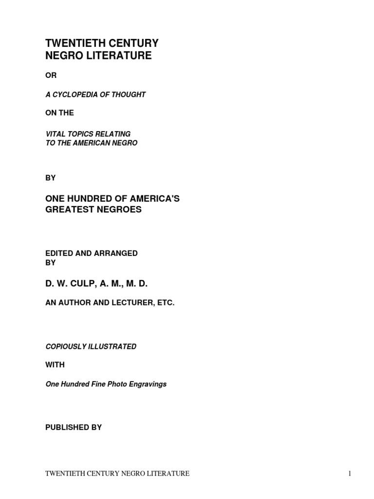 Twentieth Century Negro Literatureor A Cyclopedia Of Thought On The
