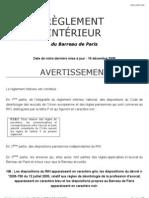 Reglement Interieur Du Barreau de Paris (Ribp)