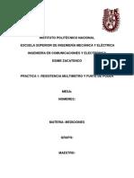 Practica 1 Resistencia Multimetro y Funte de Poder