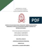 Diseño de Un Plan de Negocio Para La Producción y Comercialización Nacional e Internacional de Ar