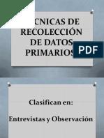 Técnicas de Recolección de Datos Primarios