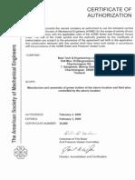 ASME S Certificate