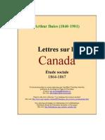 Arthur Buies - Lettres sur le Canada. Étude sociale 1864-1867