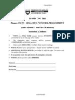 Finance 351 2012 Semester 1 Test Questions