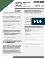 Dental Boa rd Form Application for Limited Registration for Postgraduate Training or Supervised Practise PSDWS ALPS 20
