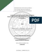 Diseño de Un Sistema de Costos Para Una Empresa Productora de Pantalones, Ubicada en La Zona 1, De La Ciudad de Guatemala