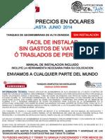 Lista de Precios Pesos Tanques Sin Instalacion Junio 2014