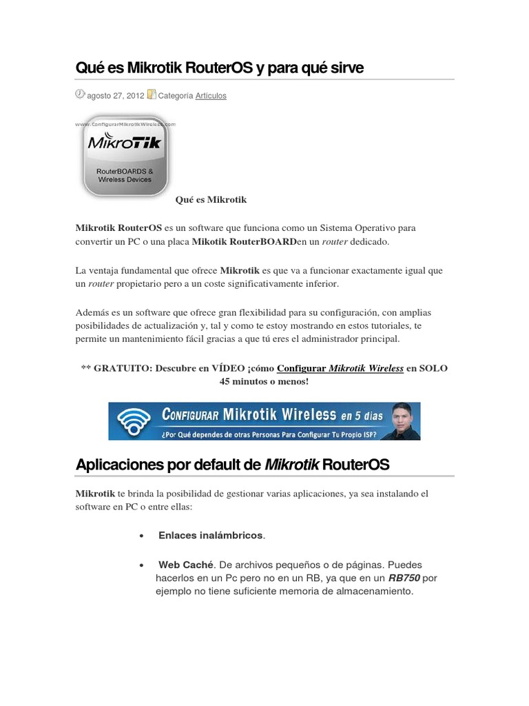 Qué Es Mikrotik RouterOS y Para Qué Sirve | Software | Email