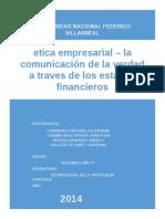 Etica Empresarial y La Verdad a Traves de Los EEFF