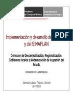 Implementación y Desarrollo Del CEPLAN y Del SINAPLAN