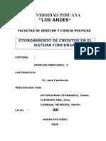 Otorgamineto de Creditos en El Sistema Concursal Peruano
