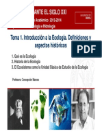 EcologIa as t1 Introduccion a La Ecologia 2013 2014