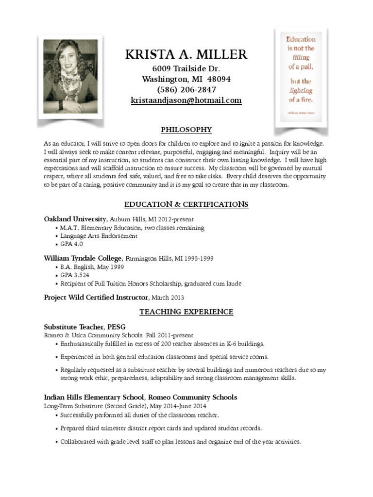 updated teaching resume 4 | Differentiated Instruction | Teachers