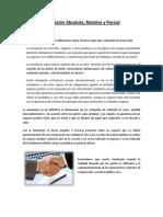 TRABAJO DERECHO TRIBUTARIO - Simulación Absoluta, Relativa y Parcial