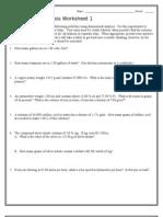 Dimensional Analysis Worksheet 1