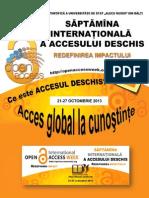 Săptămîna Internaţională a Accesului Deschis Redifinirea Impactului,  21-27  oct.  2013