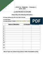 PCR0025 Class Project Registration Form
