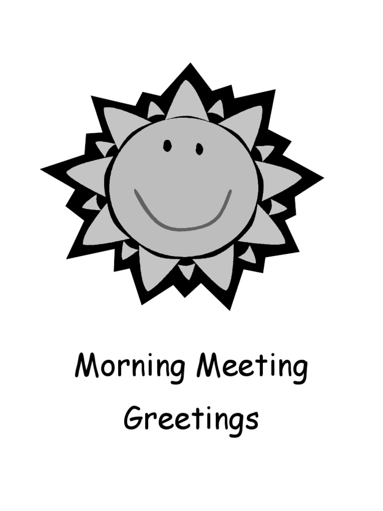 Morning Meeting Greeting Book English As A Second Or Foreign