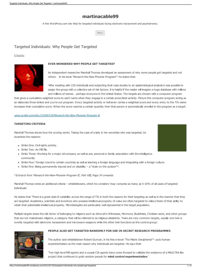 Strahlenfolter Stalking - TI - Targeted Individuals - Why People Get