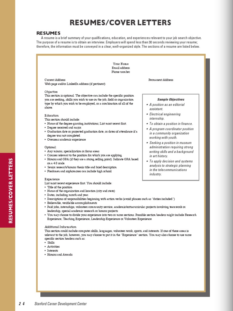 Stanford CPH 12-13-06 Resumes CoverLetters   Stanford University ...