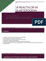 Cinetica Reactiilor in Cataliza Heterogena