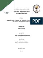 Interpretación y Análisis Del Código de Ética y Deontología Del Colegio de Obstetras Del Perú