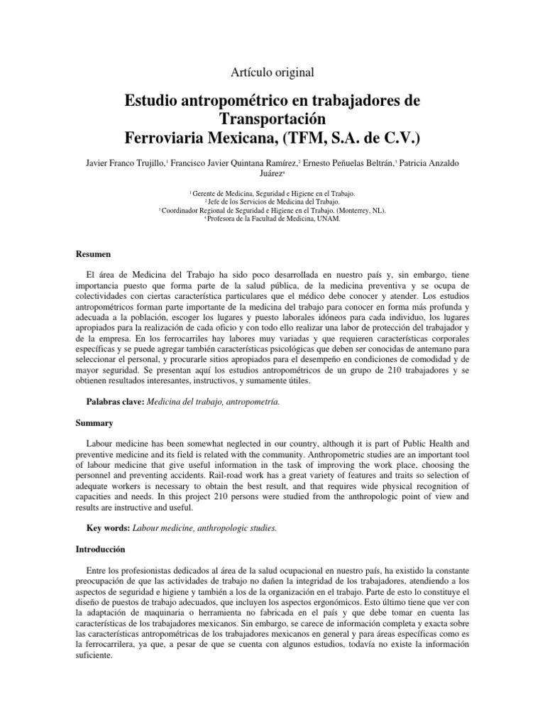 Estudio Antropometrico en Trabajadores Mexicanos