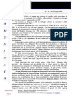 Comunicato N 74 Verifica Mobilità Nazionale e Mobilità in Deroga Del 6.6.2014